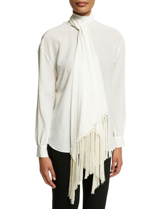 One-Button Long-Sleeve Jacket W/Fringe, Long-Sleeve Blouse W/Attached Scarf ...