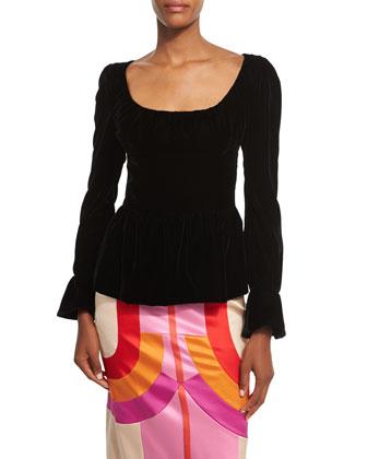 Long-Sleeve Velvet Peplum Top, Black