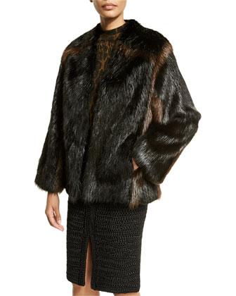 Two-Tone Fur Coat W/Braiding, Black/Brown