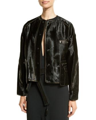 Long-Sleeve Calf-Hair Jacket, Black