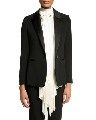 One-Button Long-Sleeve Jacket W/Fringe, Black