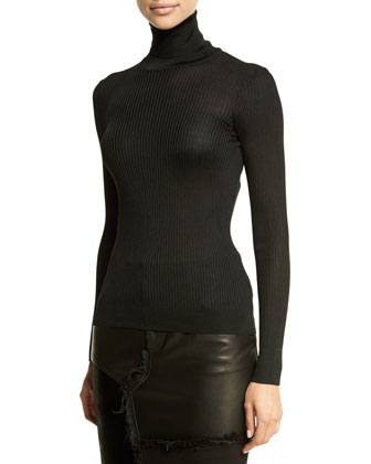 Oversized-Collar Fur Coat, Long-Sleeve Turtleneck Ribbed Top & Tone-On-Tone ...