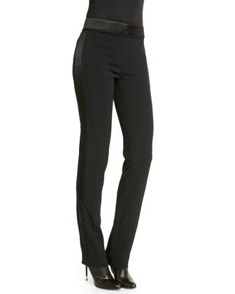 Flat-Front Slim-Leg Tuxedo Pants, Black