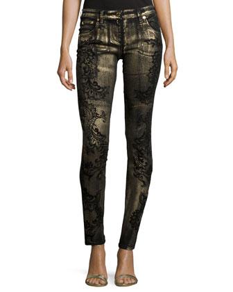 Long-Sleeve Floral-Print Chiffon Blouse & Skinny-Leg Metallic Printed Jeans