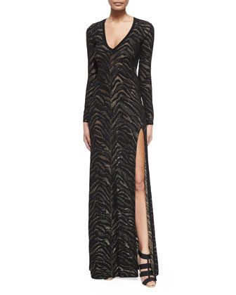 Long-Sleeve Tiger-Stripe Gown, Nero/Oro