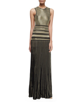 Metallic Pleat-Skirt Gown, Nero/Oro