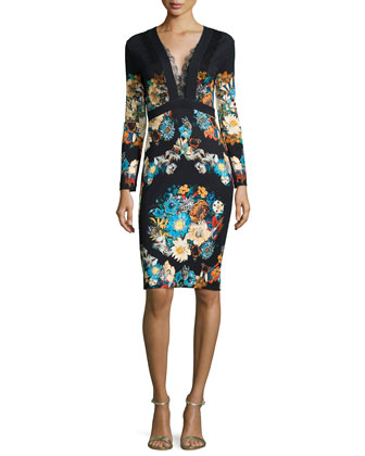 Lace-Trimmed Floral-Print Sheath Dress