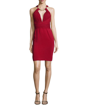 Jeweled-Neck Cocktail Dress, Scarlet