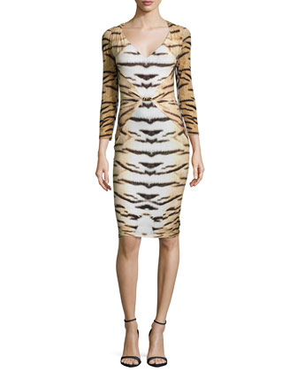 Tiger-Print 3/4-Sleeve Gathered Sheath Dress