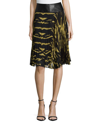 Leather Waist Tiger-Print Pleated Skirt, Nero/Oro Bronzo