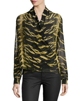 Long-Sleeve Tiger-Print Silk Wrap Blouse, Nero/Oro Bronzo
