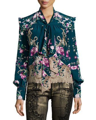 Long-Sleeve Floral-Print Chiffon Blouse, Teal