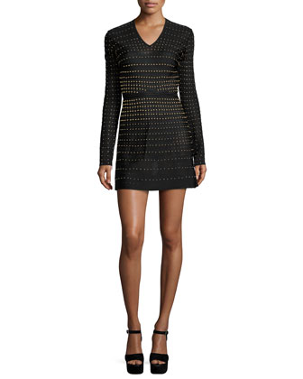 Long-Sleeve Embellished Mini Dress, Nero