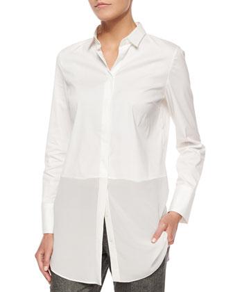 Wool Monili-Snap Long Coat, Asymmetric One-Button Vest, Long-Sleeve ...