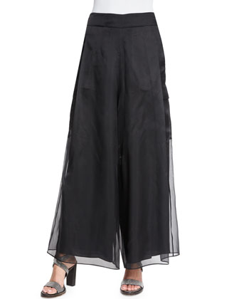 Wide-Leg Cargo-Pocket Pants, Black
