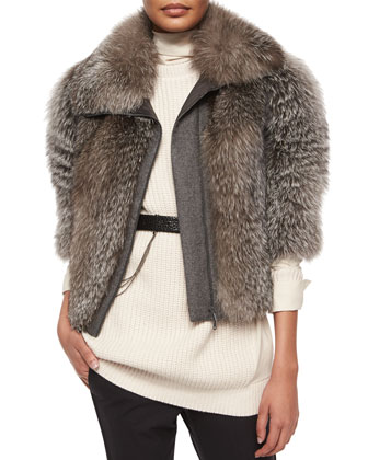 Fox Fur & Wool-Blend Coat
