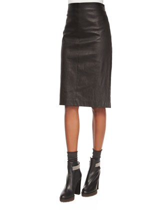 Hooded Piuma-Link Poncho, Matte Silk Turtleneck Top, Leather Pencil Skirt & ...