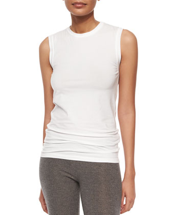 Sleeveless Basic T-Shirt, White