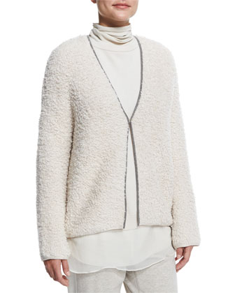 Monili-Chain Trimmed Cardigan, Ribbed Layered Turtleneck Tunic, Colorblock ...