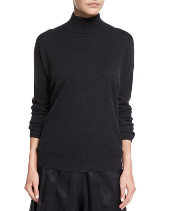 Mock-Neck V-Back Cashmere Sweater, Onyx