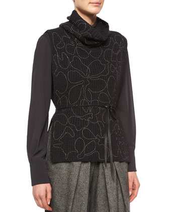 Open-Side Cashmere Pullover Sweater, Onyx
