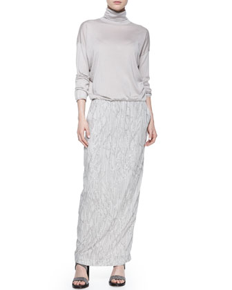 Long-Sleeve Embroidered Combo Gown, Dove