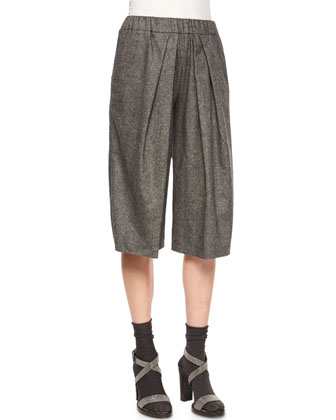 Cashmere-Blend Tweed Culotte Pants, Anthracite/Medium Gray