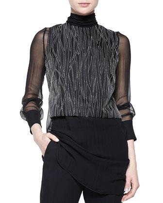 Monili-Chain Embroidered Top, Black