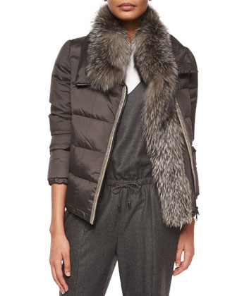 Long-Sleeve Puffer Jacket w/Fur Trim, Graphite