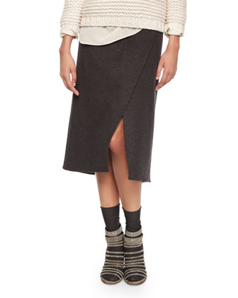 Wool-Cashmere Faux-Wrap Skirt