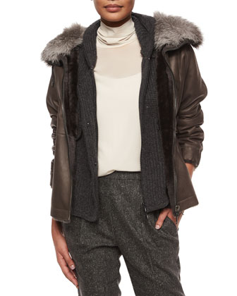 Reversible Shearling Coat with Fox Fur Collar