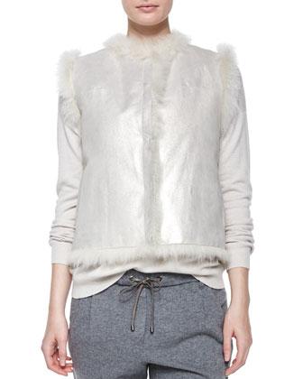 Open-Front Reversible Fur Vest, Long-Sleeve Monili-Chain Sweater, ...