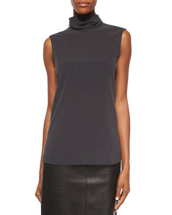 Matte Silk Turtleneck Top