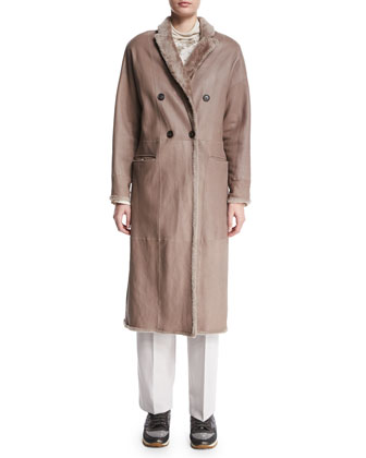 Reversible Double-Breasted Long Coat, Bran