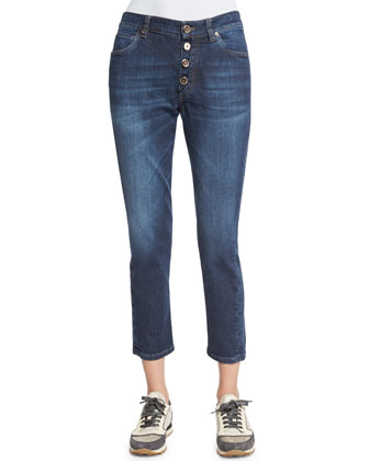 Mid-Rise Exposed-Fly Cropped Jeans, Medium Wash