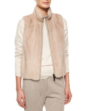 Mink Fur/Nylon Combo Vest, Chiffon-Trimmed Cashmere Jersey Tunic, ...