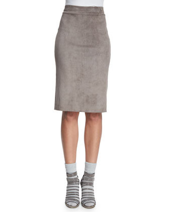 Lamb Suede Pencil Skirt