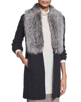 Cashmere Cardigan W/Fox-Fur Collar, Onyx