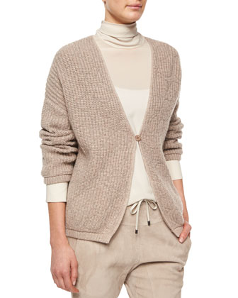 Long-Sleeve Monili-Chain Cashmere Cardigan, Bran