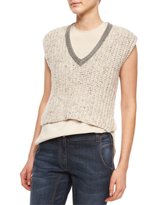Embellished-Neck Sweater Crop Top, Wheat