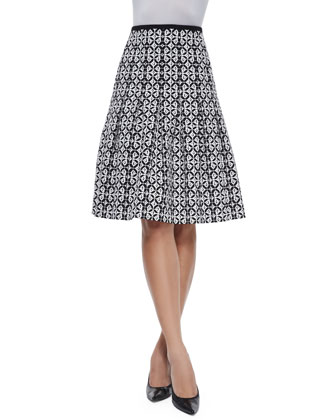 Graphic Floral-Print Pleated Skirt