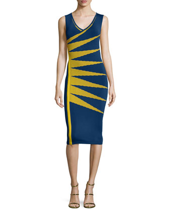 Sleeveless Sunburst Sheath Dress, Blue/Chartreuse