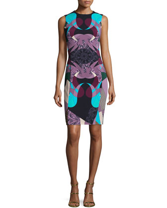 Abstract-Print Sheath Dress, Nero/Stampa