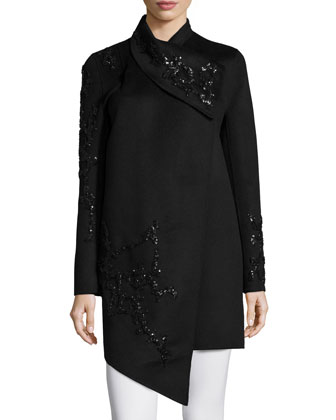Long-Sleeve Embellished Cashmere Coat, Black