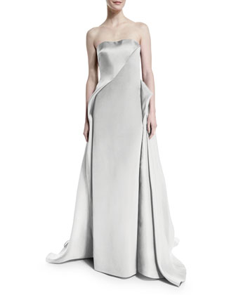 Strapless Draped Ball Gown, Silver