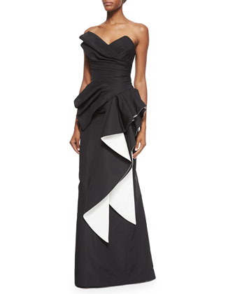 Strapless Two-Tone Pleated Gown, Black/White