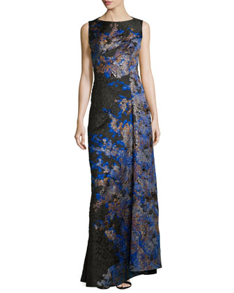 Sleeveless Draped Cloque Gown, Green/Blue