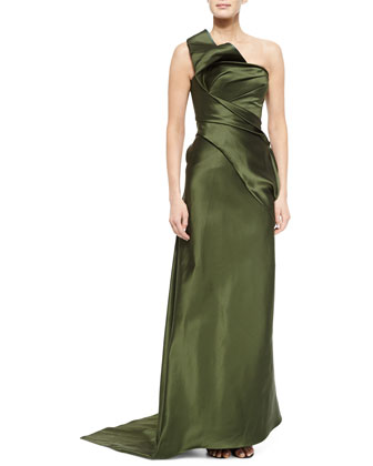 One-Shoulder Hand-Draped Gown, Aubergine