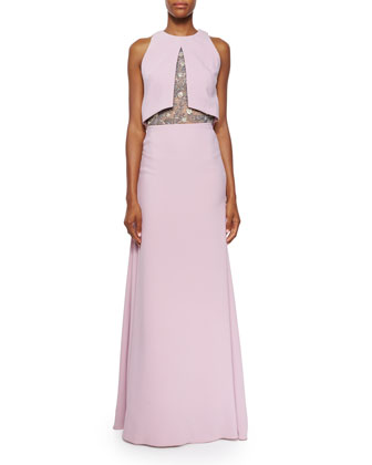 Sleeveless Embroidered-Bodice Gown, Lilac
