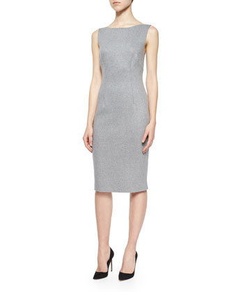 Sleeveless Reversible Cashmere Sheath Dress, Gray/Black